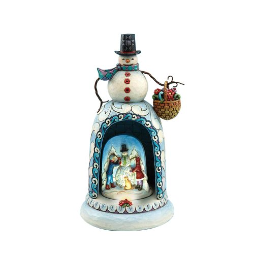 Jim Shore Heartwood Creek Snowman with Lighted Musical Revolving Kids Building Snowman Diorama Scene Figurine, 10-3/4 Inches