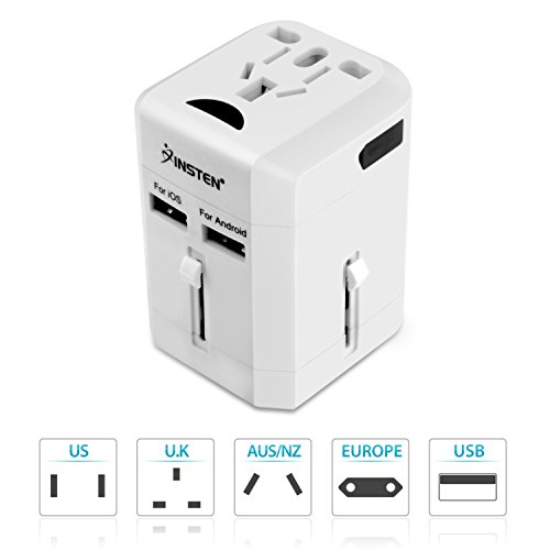 Insten Universal All in One Worldwide Travel Power Plug Wall AC Adapter Charger with Dual USB Charging Ports for US/EU/UK/AU, White (2017 New Version)
