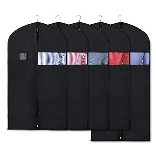 Zilink Black Garment Bags for Storage and Travel 43/50 INCH Anti-Moth Protector Suit Cover with Clear Window for Suit, Jacket, Shirt, Coat, Dresses (Pack of 5)