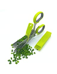 JINJI Herbal Scissors - Multi-Function Shear Clip with 5 Stainless Steel Blades, Safety Cover with Cleaning Comb, Used for Processing Herbs and Office Waste Paper