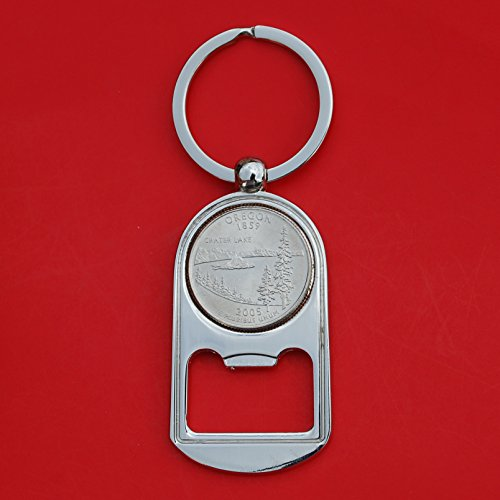 US 2005 Oregon State Quarter BU Uncirculated Coin Silver Tone Key Chain Ring Bottle Opener NEW