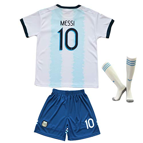 2019 Copa America Soccer National Team Argentina Mexico Brazil Messi Chicharito Neymar Jr. Replica Kids Jersey Kit : Shirt, Short, Socks Youth Sizes (Argentina - Lionel Messi 12-13 Years Old) ()