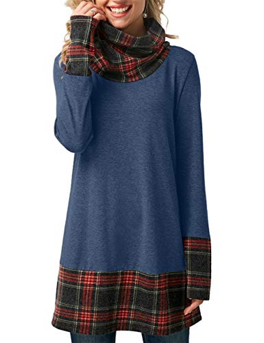 PARIS HILL Women's Long Sleeve Blouse Cowl Neck Plaid Print Tunic Tops Blue Small