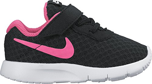 NIKE Girl's Tanjun Shoe Black/Hyper Pink/White Size 10 Kids US (Nike Kids Shoes Size 10)