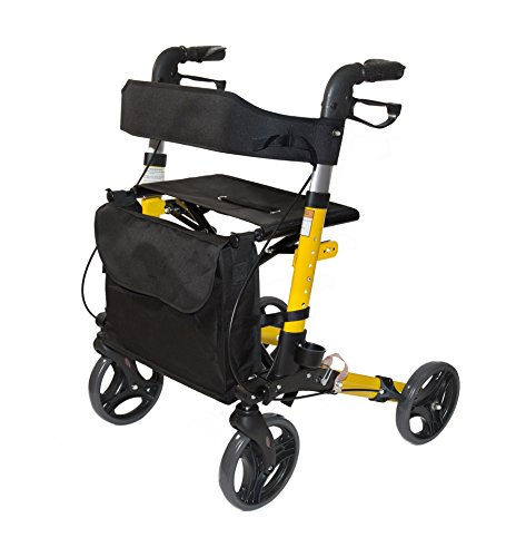 AdirMed Four Wheel, Euro Style, Easey to Fold Rollator Walker with Pouch and Cane Holder - Yellow