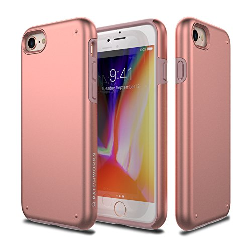 PATCHWORKS iPhone 8 Case, [Chroma Series] Hybrid Soft Inner TPU Hard Matte Finish PC Back Cover Military Grade Drop Tested Dual Layer Case for iPhone 8 / iPhone 7 - Rose Gold