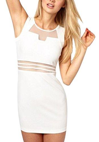Jaycargogo Maille Survêtement Veste Sexy Voir À Travers Robe Boîte De Nuit De La Hanche Paquet Creux Blanc