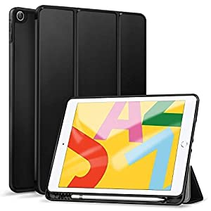 Robustrion Smart Flexible Trifold Flip Stand Case Cover with Pencil Holder for iPad 10.2 inch 7th 8th Generation Case – Black