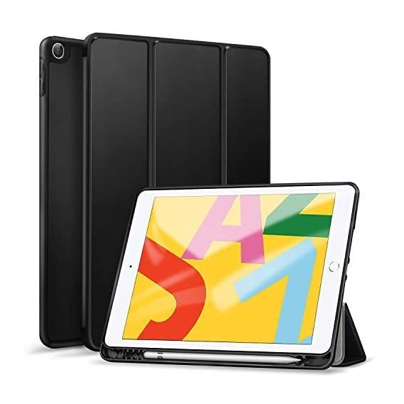 ABOUTTHEFIT Case for Samsung Galaxy TAB S6 Lite 10.4 (2020) WiFi SM-P610 / LTE SM-P615, ABOUTTHEFIT Slim Flexible Soft TPU Back Folio Case with S Pen Holder, Trifold Stand, Shockproof Cover (Black)