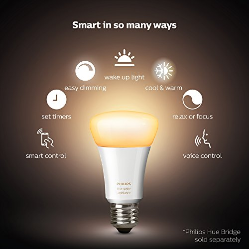 Philips Hue 2-Pack White Ambiance 60W Equivalent Dimmable LED Smart Bulb (Works with Alexa Apple Homekit and Google Assistant) by Philips Hue (Image #1)