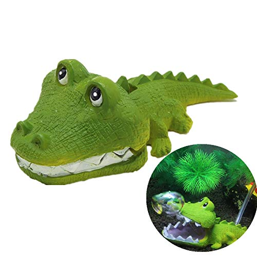 Pandacn Aquarium Air Bubbler Decorations - Aquarium Ornament Oxygen Pump Resin Crafts for Aquarium Fish Tank Decor,Air Bubbler Stone for Aquarium,Cute Crocodile Air Bubbler Ornament ()