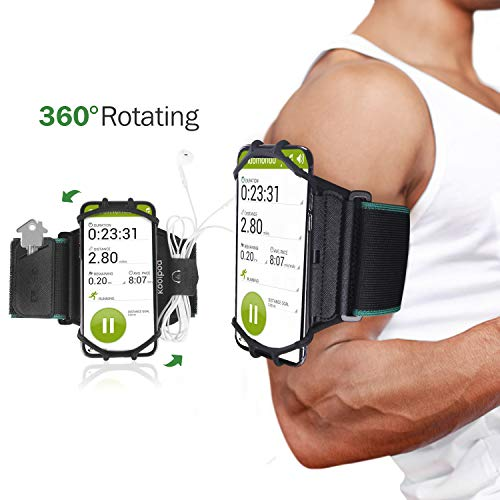 Running Armband Phone Holder for iPhone X 8 7 6s 6 Plus,Samsung Galaxy,Google Pixel 4-6 inch,360° Rotatable Sports Cell Phone Arm Band with Key Earbuds Holder for Hiking Biking Cycling by Koolpod