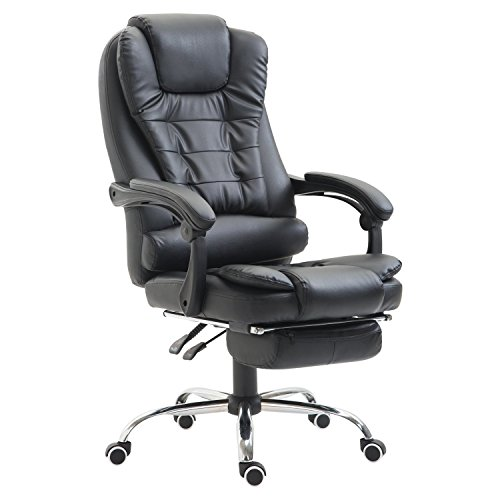 HomCom Reclining PU Leather Executive Home Office Chair with Footrest - Black