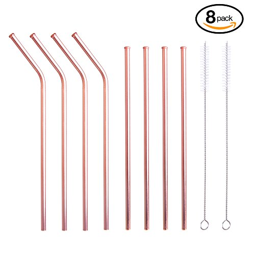 Eco-Friendly Reusable Stainless Steel Copper Straws | Set of 8 Including 4 Straight Plus 4 Bent Cocktail Straws Plus 2 Cleaning Brushes | Great for 20oz Yeti Tumblers and Moscow Mules, 9.5in by Carlsbad Copper Co
