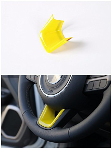 FMtoppeak Yellow Interior Accessories ABS Car Steering Wheel Cross U Shape Trim Cover For 2014 UP Jeep Renegade (Cool Car Interior Accessories)