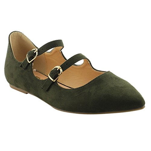 Dress Olive Scalloped Dual BETANI FJ81 Buckle Flats Edge Straps Women's Ballet q48RwvHxa
