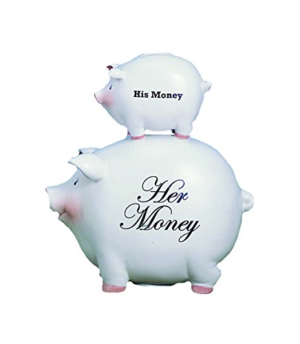 - Young's His Money/Her Money Ceramic Piggy Bank, 8-Inch