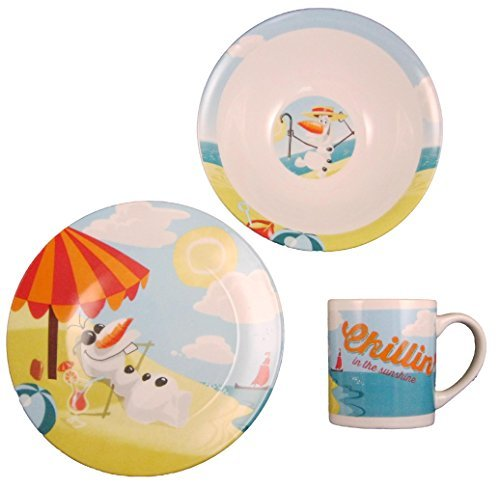Disney Frozen Olaf Chillin In The Sunshine Ceramic 3-piece Dinnerware Set - Plate, Bowl and -