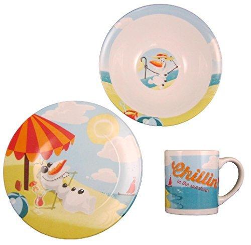 Disney Frozen Olaf Chillin In The Sunshine Ceramic 3-piece Dinnerware Set - Plate, Bowl and Mug 3 Piece Kids Dinnerware Set