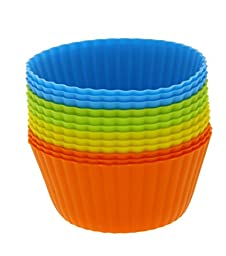 Silicone Cupcake Liners - 12-Pack Reusable Assorted Baking Cups 4-inches