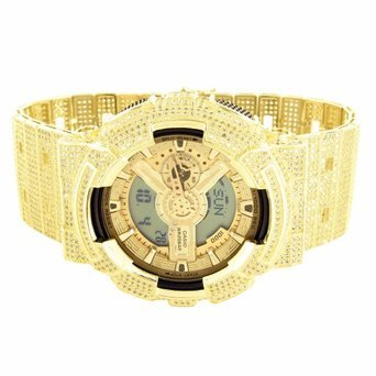 Mens G-Shock Watch Gold Finish Digital Analog Iced Out Canary Simulated ()