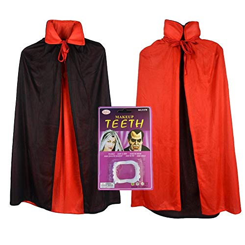 Vampire Cape/ Witch Cloak Reversible Red/ Black (35 Inch) With Vampire Teeth -