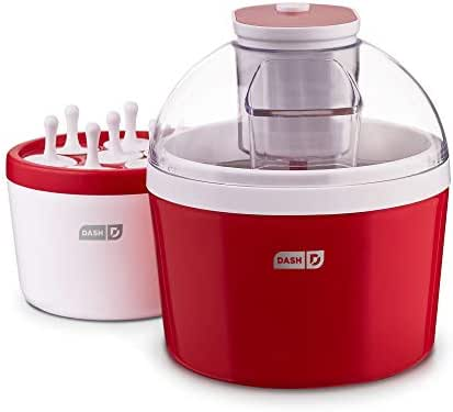 Dash DIC700RD 2-in-1 Ice Cream, Frozen Yogurt, Sorbet + Popsicle Maker with Easy Ingredient Spout, Double-Walled Insulated Freezer Bowl & Free Recipes, 1 quart, Red