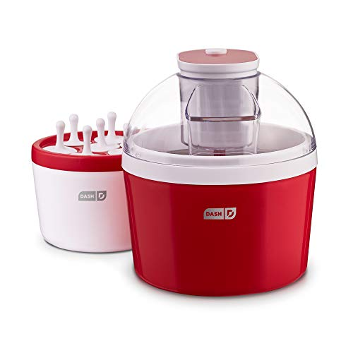(Dash DIC700RD 2-in-1 Ice Cream, Frozen Yogurt, Sorbet + Popsicle Maker with with Easy Ingredient Spout, Double-Walled Insulated Freezer Bowl & Free Recipes, 1 quart, Red)