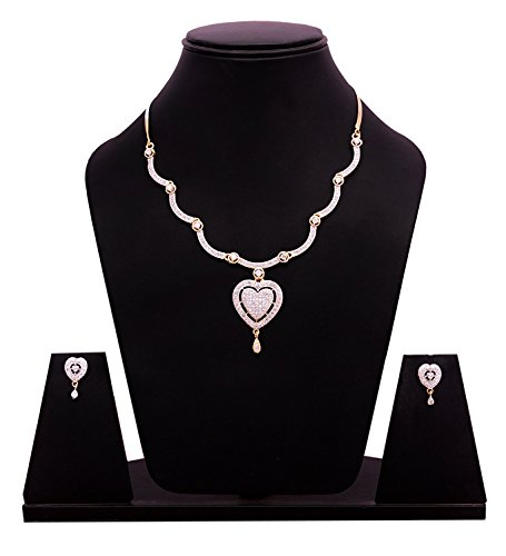 Diyofa Women's Imitation Fashion Jewellery Stylish American Diamond Occasion Wear Pendent Necklace Set 5 X 5 X 5 (Diamond Pendent Set)