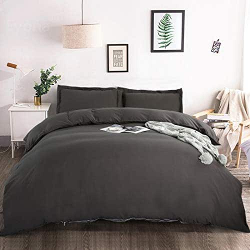 BALICHUN Duvet Cover Set King Size Premium with Zipper Closure Hotel Quality Wrinkle and Fade Resistant Ultra Soft -3 Piece-1 Microfiber Duvet Cover Matching 2 Pillow Shams (Dark Gray, King)