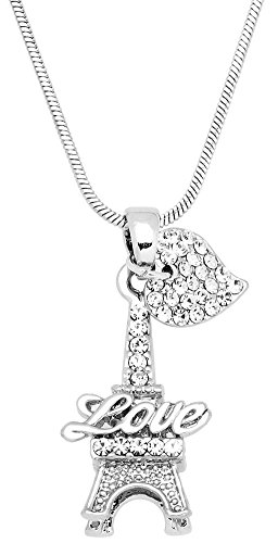 - Small 3-D Crystal Love Eiffel Tower Paris France Pendant Necklace with Heart Accent