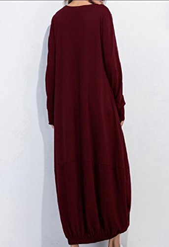 Long High Size Women Full Wine Red Dress Sleeve Autumn Low Length Coolred Plus qSw1UC5xx