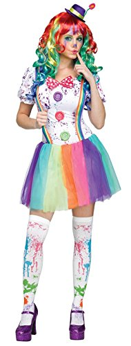 Fun World Women's Color Clown Costume, Multi, Medium/Large (Lady Clown Costume)