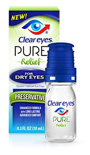 Clear Eyes Pure Relief for Dry Eyes, 0.34 oz Per Bottle (2 Bottles) ()