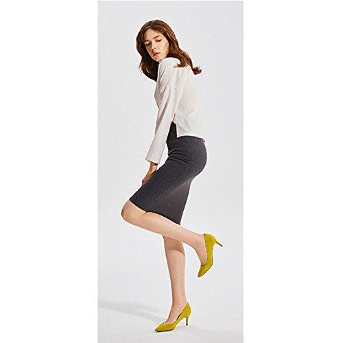 Sexy Negro 6 Boda Altos MustardYellow De Trabajo Fiesta De Zapatos 34 UK De Corte Zapatos De EU Mujer 2 5cm Discoteca De Piel Oveja snfgoij Tacones Moda 1qwvn5O