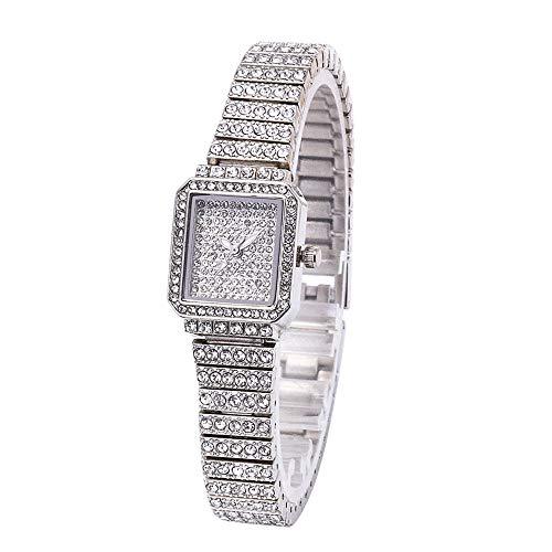 (MINILUJIA Luxury Women's Quartz Analog Artificial Diamond Shining Bling Starry Sky Square Dial Dress Wrist Watches (Silver))