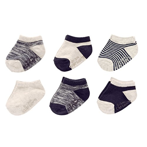 Carter's Baby Boys Ankle Socks (6 Pack), Navy/Grey Stripe, 12-24 Months