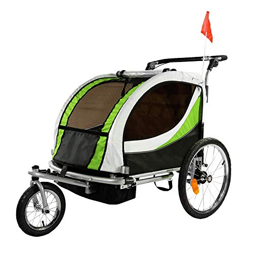 Clevr Deluxe 3-in-1 Double 2 Seat Bicycle Bike Trailer Jogger Stroller for Kids Children | Foldable w/Pivot Front Wheel, Green