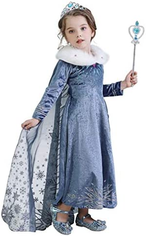 Winter Princess Dress Costume for Girls Snow Queen Theme Party Dress up Costumes,with Sparkle Ice Queen Crown and Wand