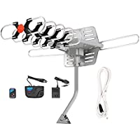 Outdoor HDTV Antenna 150 Miles Range - PremWing Amplified Outdoor TV Antenna for Digital TV, Motorized 360 Degree Rotation with Mounting Pole and Wireless Remote Control