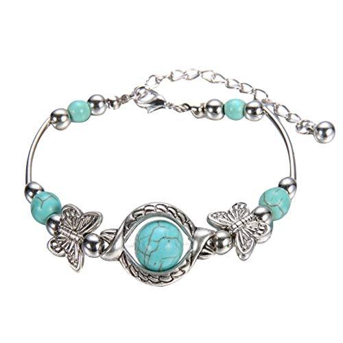 Pulsera con colgante de mariposa tallada en turquesa natural, pulsera de resina étnica Vintage, pulsera bohemia para mujer, joyería