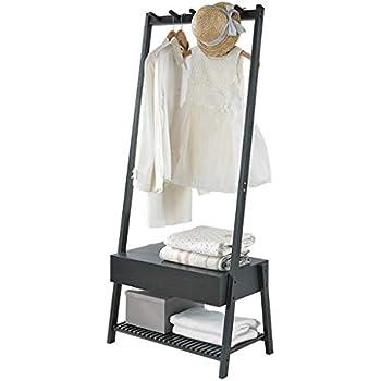 Amazon.com: ZEMIN Floor Standing Coat Rack Storage Clothes ...