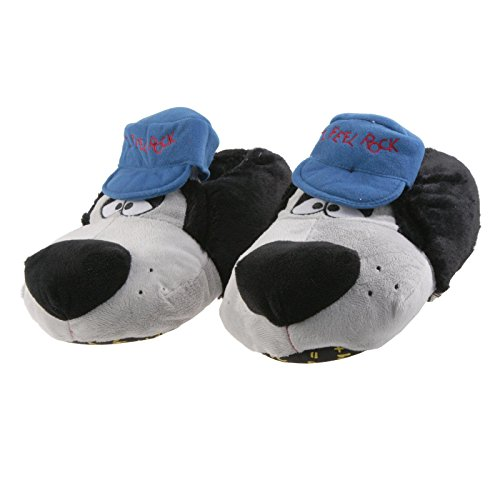 Sams Animal Slippers Rocker Black Blue Plush Dog with Cap Shoes Tightening and Sweet, RHC SB