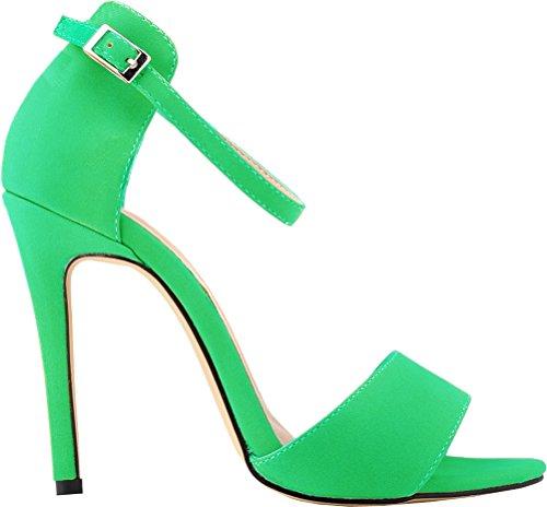 Salabobo Womens Sexy High Heel Peep Toe Buckle Ankle Strap Nubuck Sandals Green aNC8g8