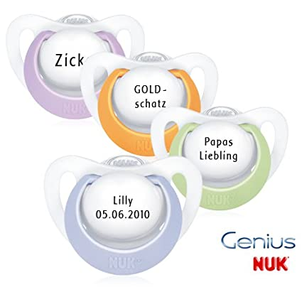 NUK Genius Chupete con nombres 4 pieza - Silicona - Color ...