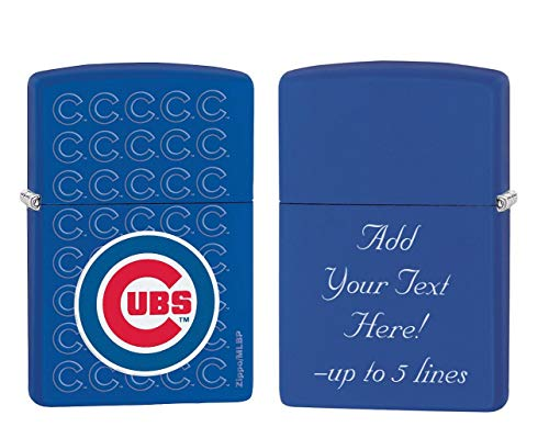 Zippo Personalized Message Engraved on Backside Chicago Cubs Baseball Team MLB Blue Windproof Zippo ()
