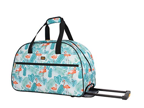 Lucas Luggage 22 Inch Printed Rolling Carry-On Suitcase Wheeled Duffel (22in, Flaming Plam)