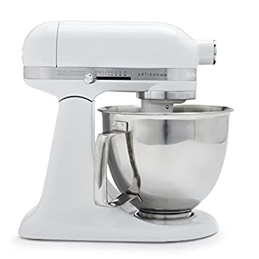 KitchenAid KSM3316XWH Artisan Mini Premium Tilt-Head Stand Mixer with Flex Edge Beater, 3.5 qt., White
