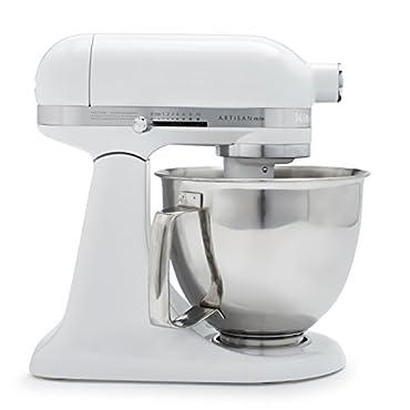 KitchenAid KSM3316XWH Artisan Mini Premium Tilt-Head Stand Mixer with Flex Edge Beater, 3.5 qt., White
