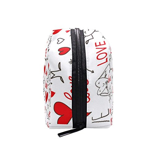 Seamless Love And Heart Makeup Case Bag Appropriate Capacity Portable Beauty Girl And Women Cosmetic Bags Storage Bags for Travel by Sunshine (Image #5)
